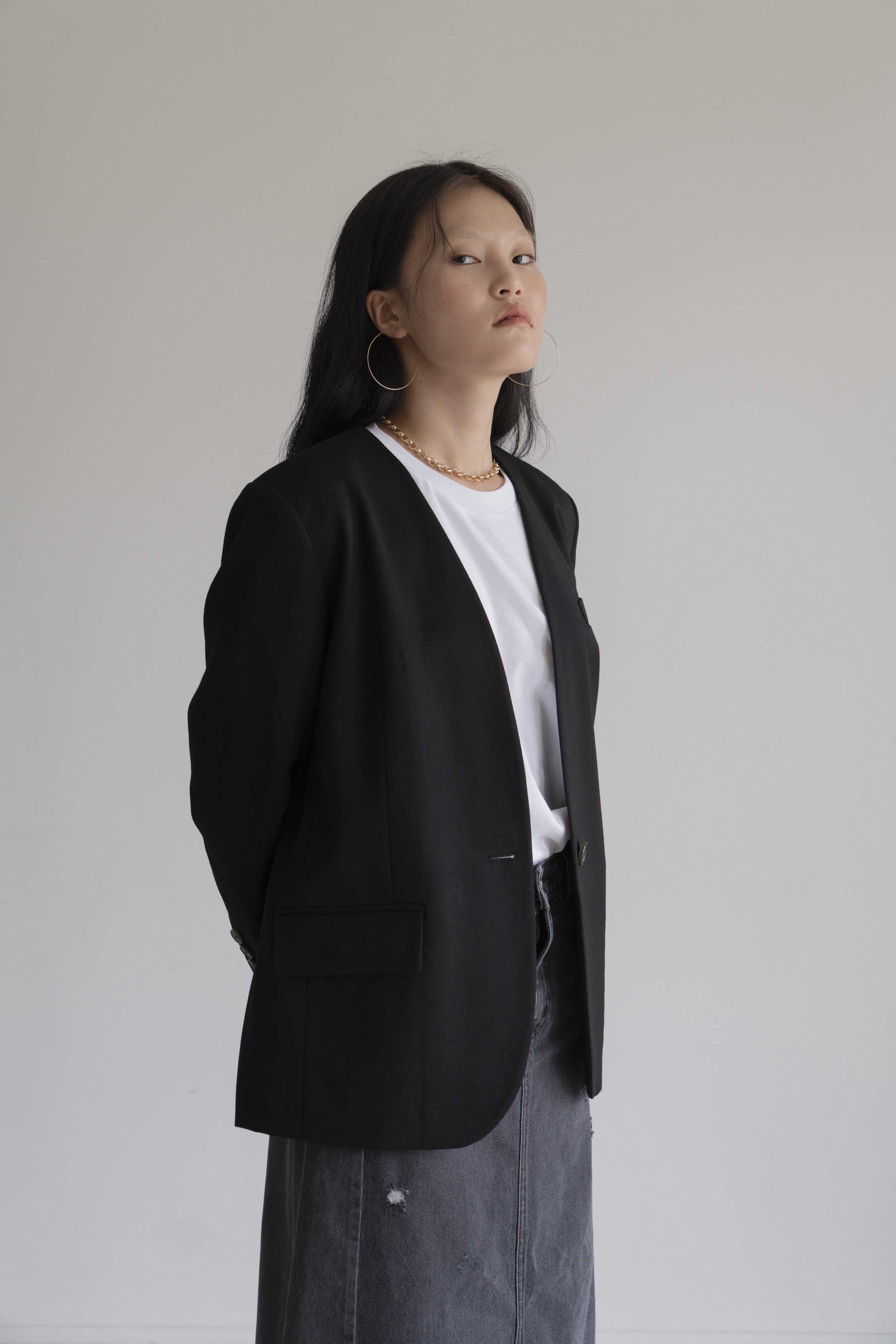 [20% 가을세일] BOXY NO-COLLAR JKT _ BLACK