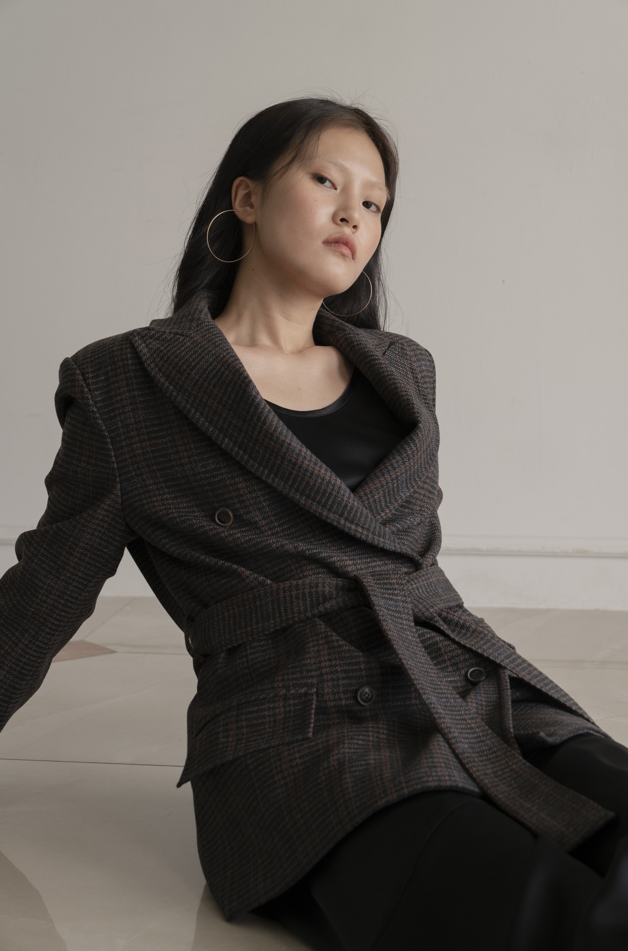 BOXY DOUBLE JACKET _ BROWN CHECK
