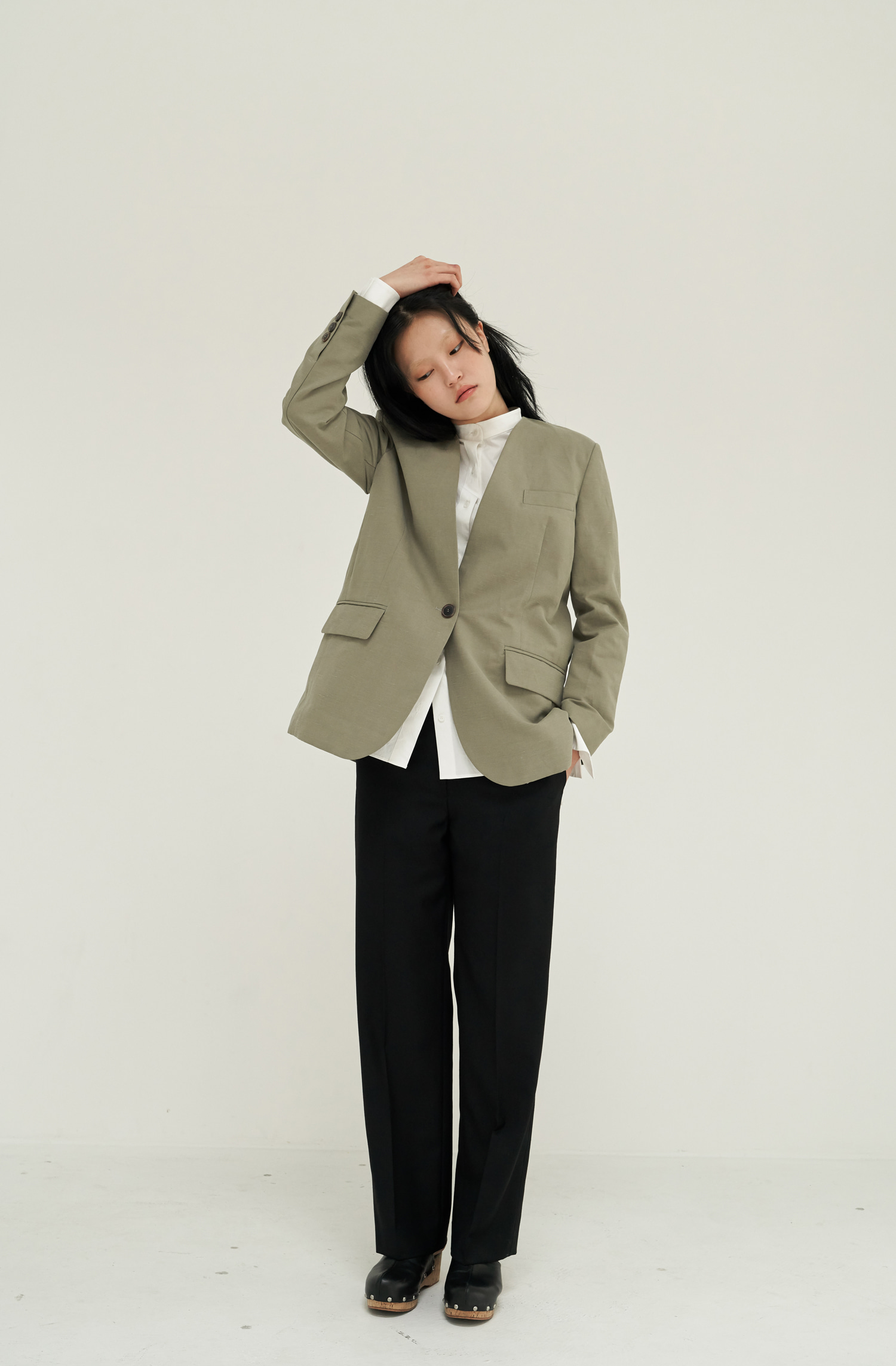 BOXY NO-COLLAR JACKET _ KHAKI
