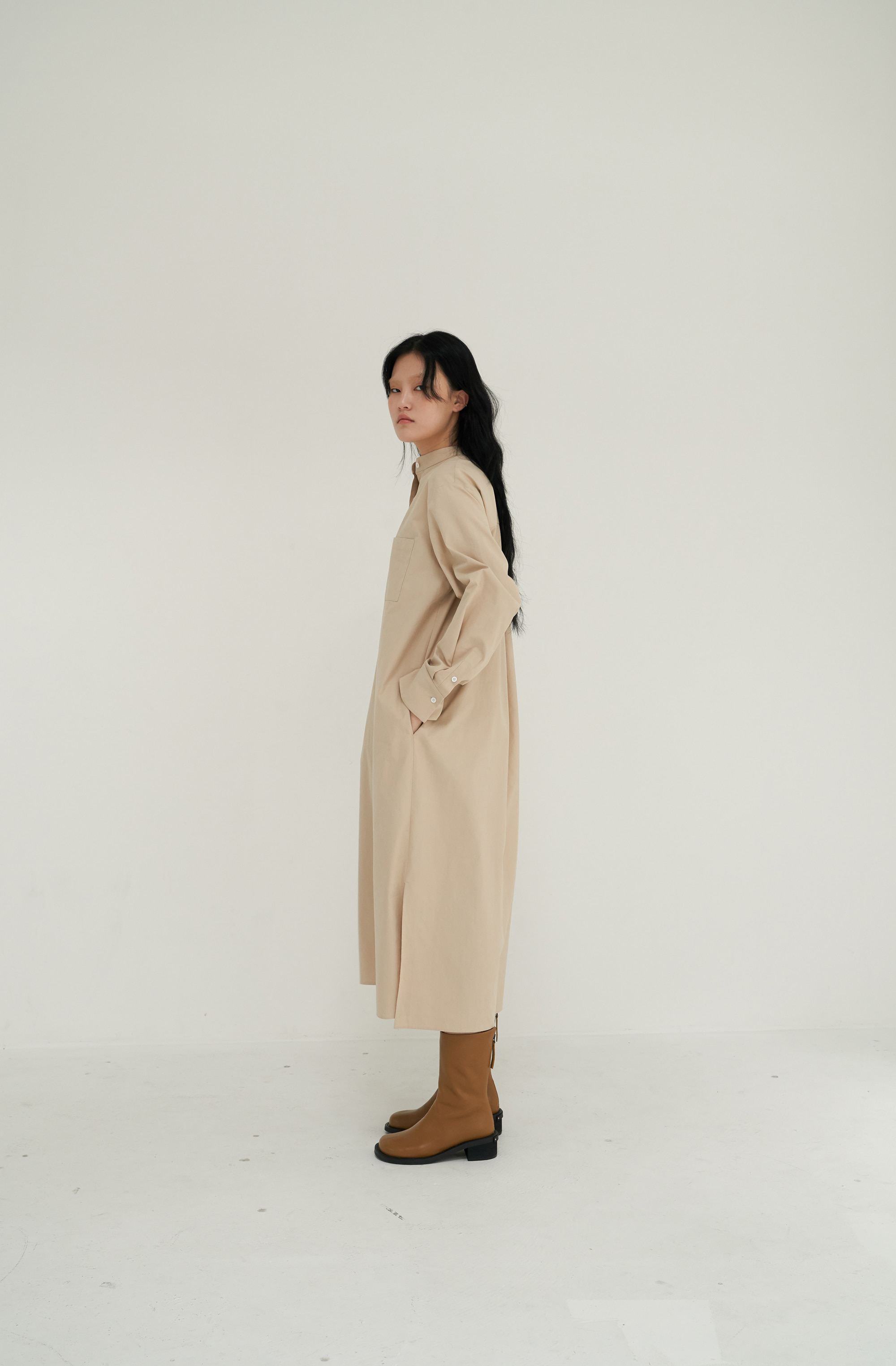 [MID SALE 20%] BOY SHIRT DRESS _ SAND BEIGE