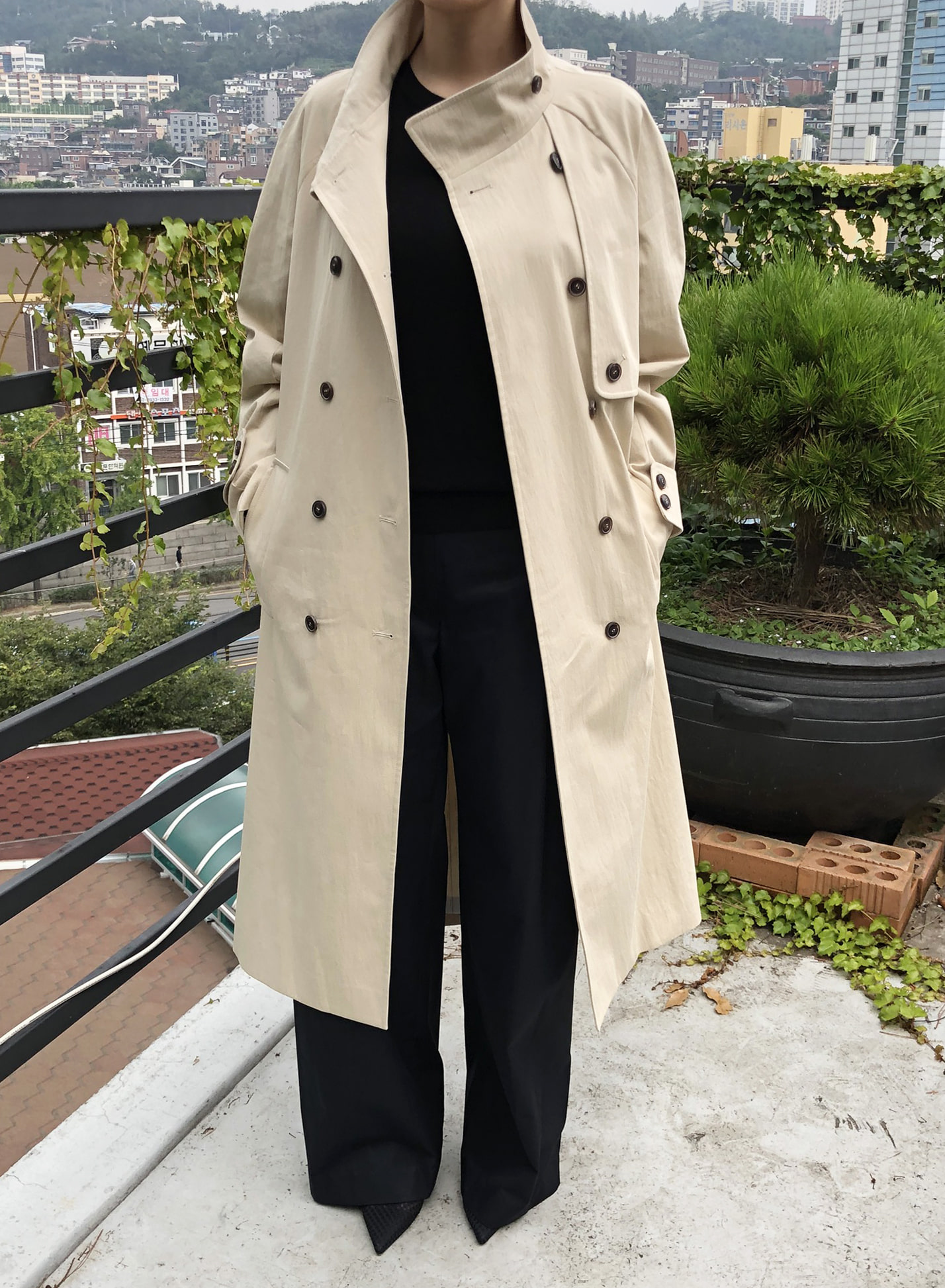 HIGH NECK COTTON TRENCH COAT