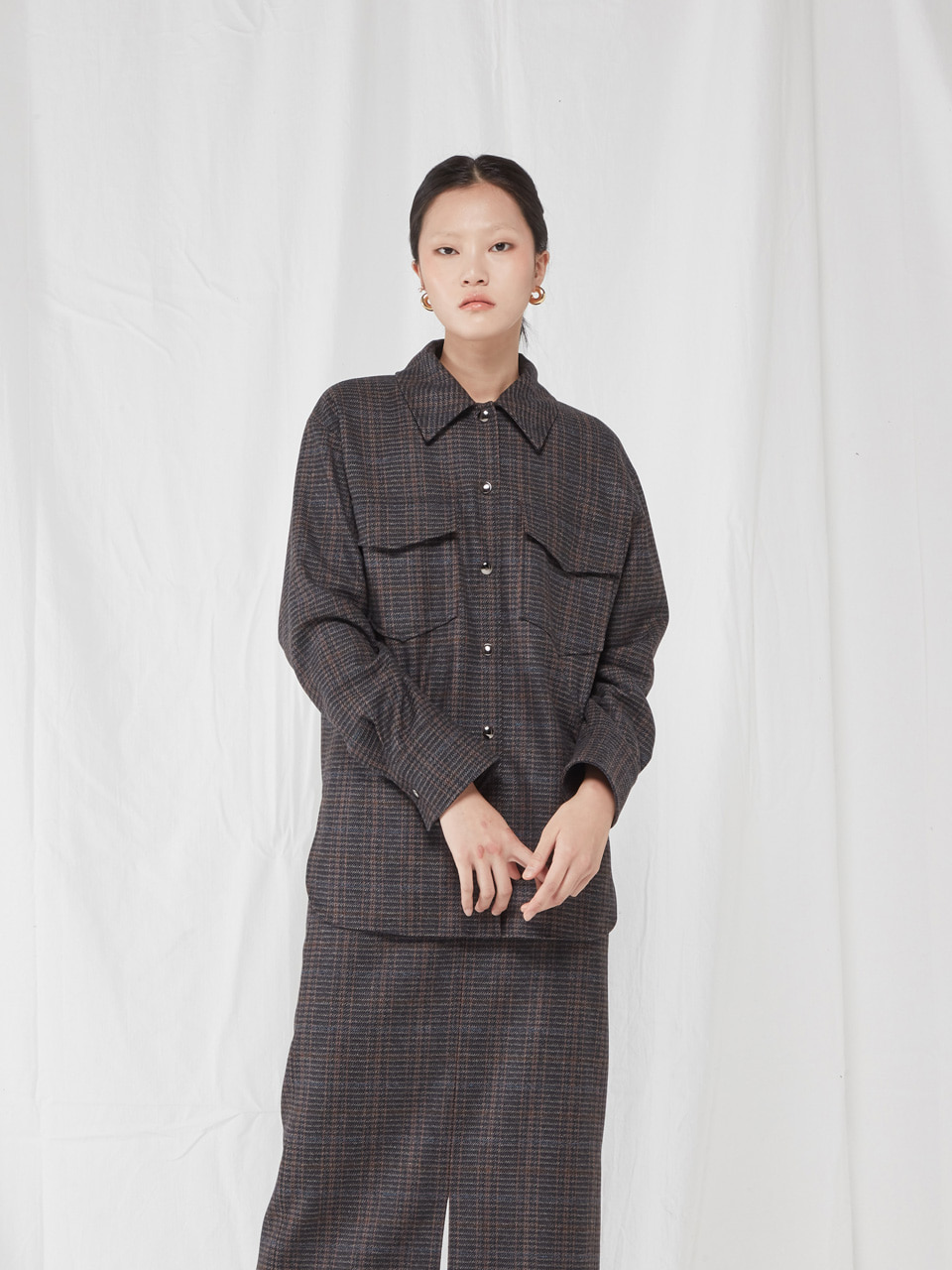 [WINTER SALE 10%]  WOOL SHIRT _ BROWN CHECK