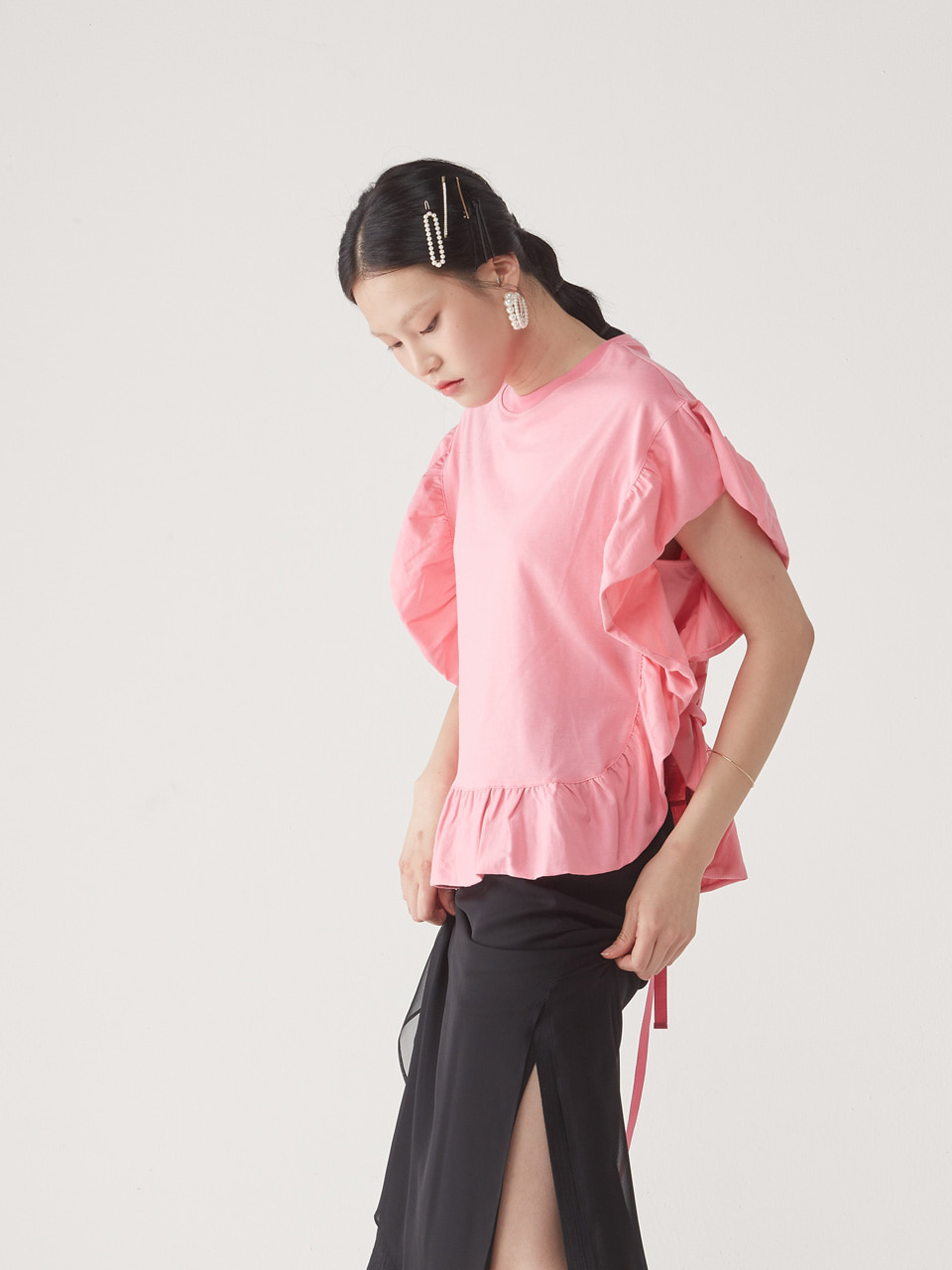 [20% SALE] FRILL TEE _ PINK