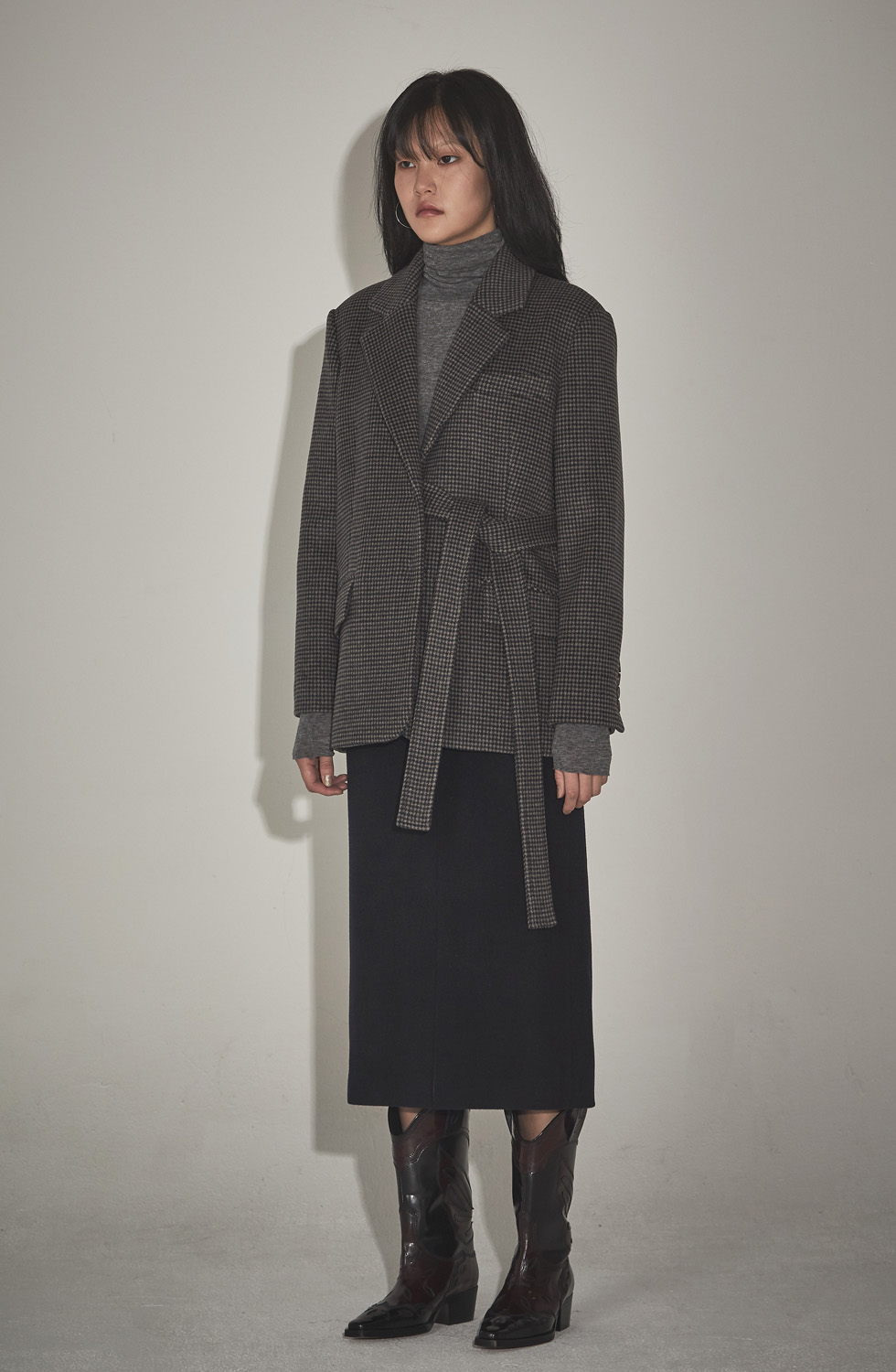 [윈터세일 10%] BOY STRAP COAT _GREY CHECK