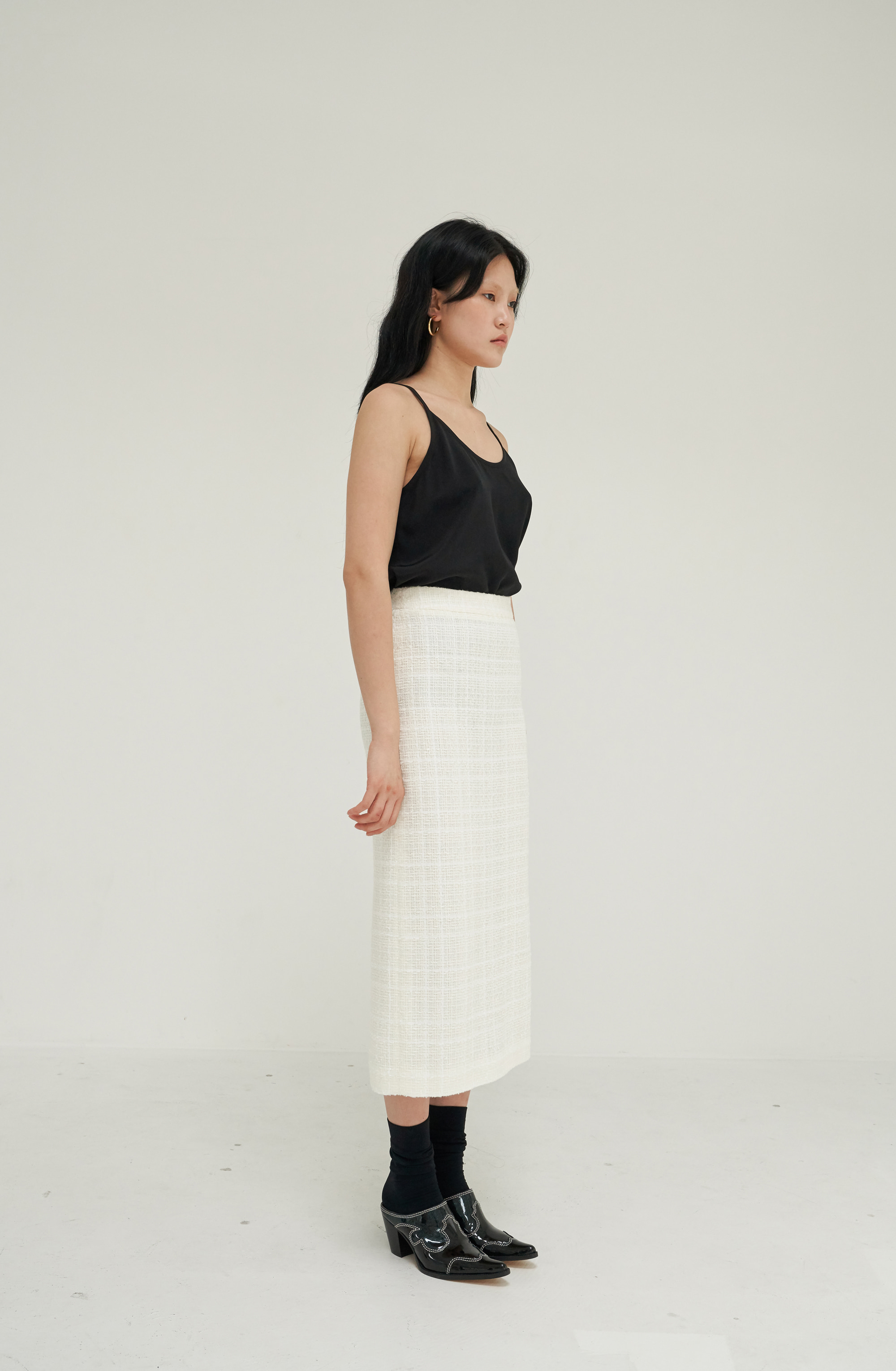 CLASSIC PENCIL SKIRT _ IVORY TWEED