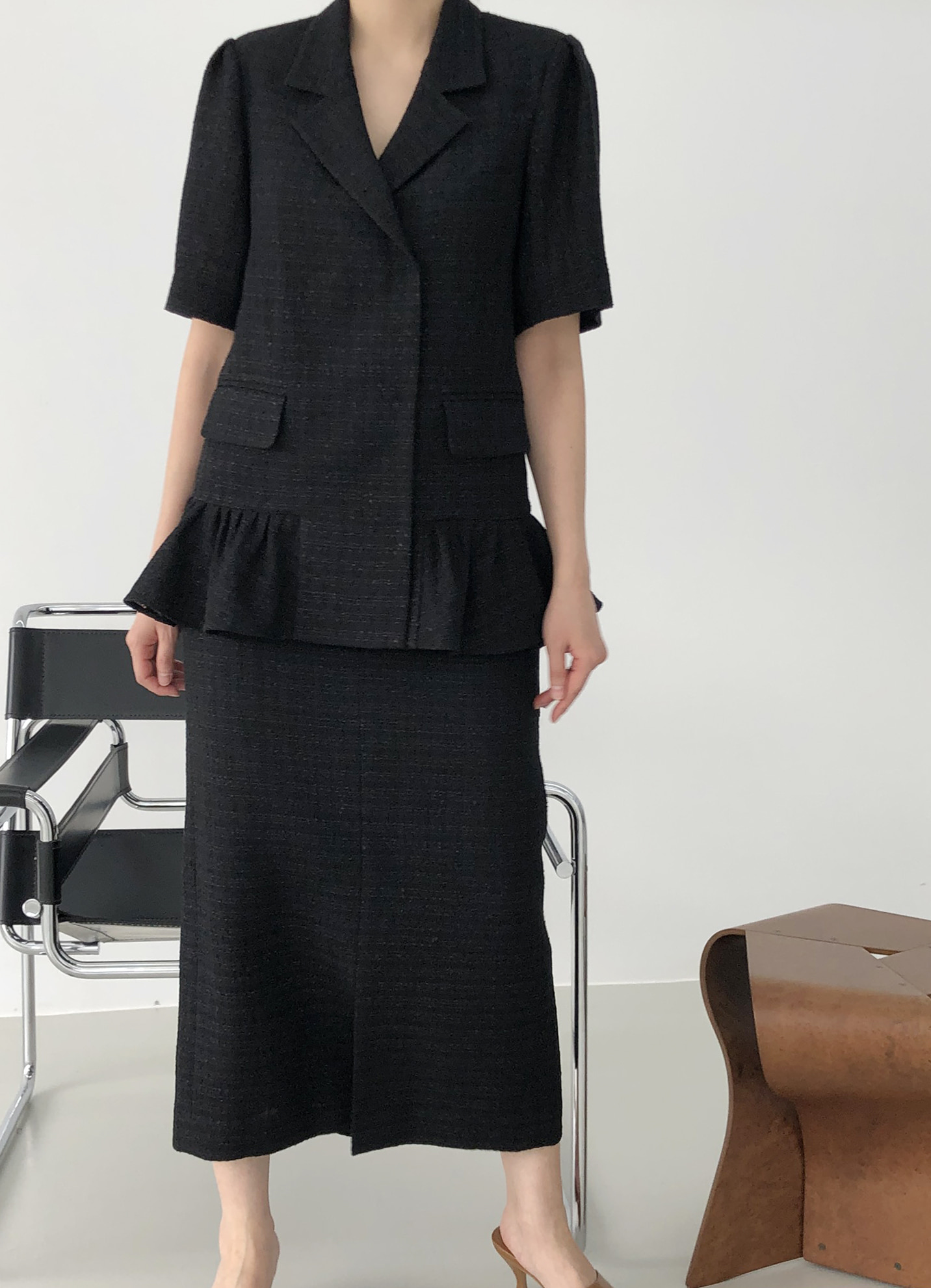 [SUMMER SALE 15%] SUMMER PEPLUM JACKET _ BLACK TWEED