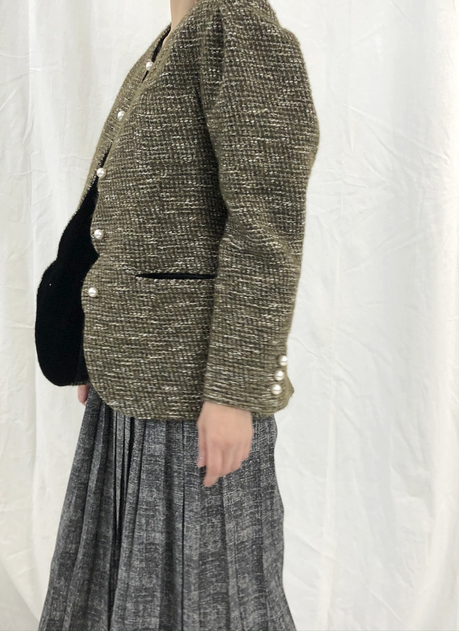 BF EXTRA 15% OFF [MID SALE 15% OFF] RETRO SCALLOP JACKET in khaki tweed