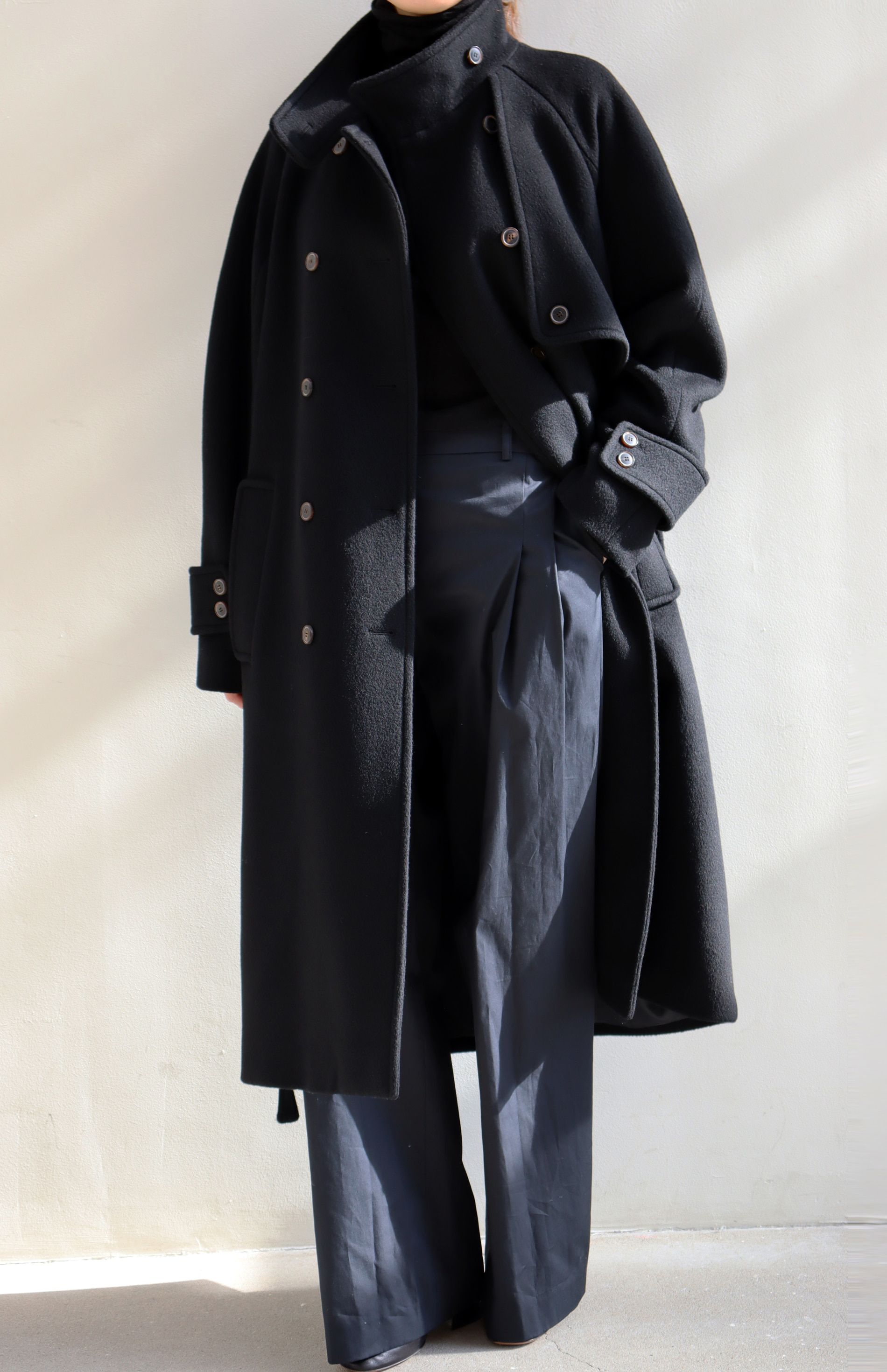 [BF EXTRA 15% OFF] HIGH NECK WOOL COAT _ BLACK