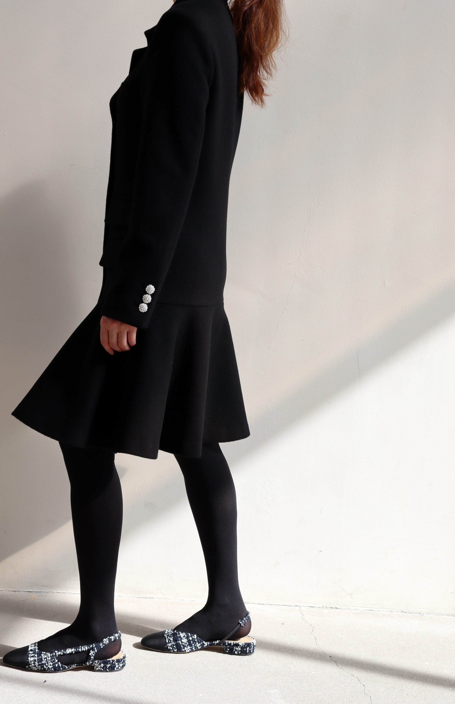[BF EXTRA 15% OFF] FLARE JACKET DRESS _ BLACK WOOL