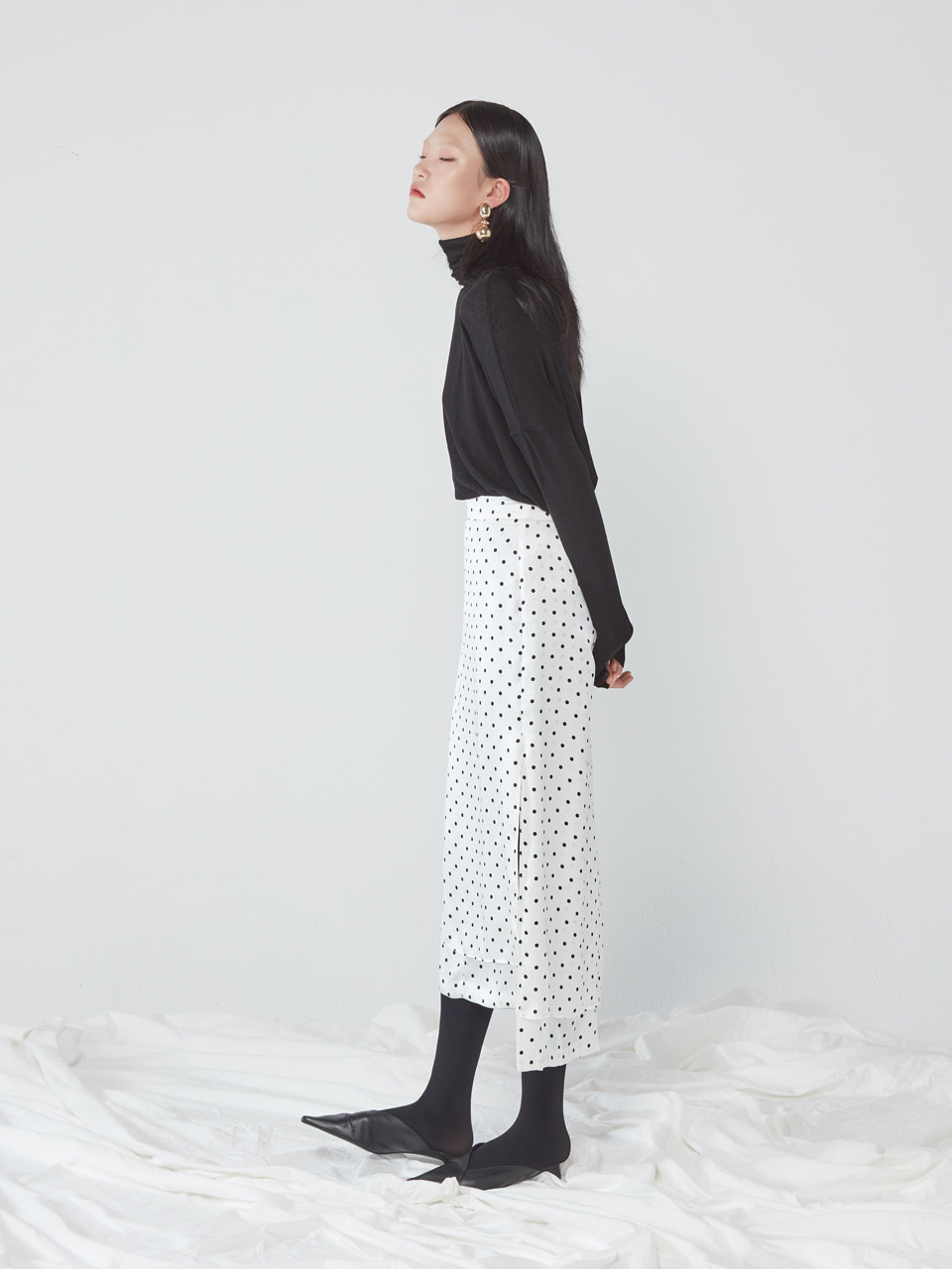 UNBALANCED LONG SKIRT _ POLKA DOT WHITE