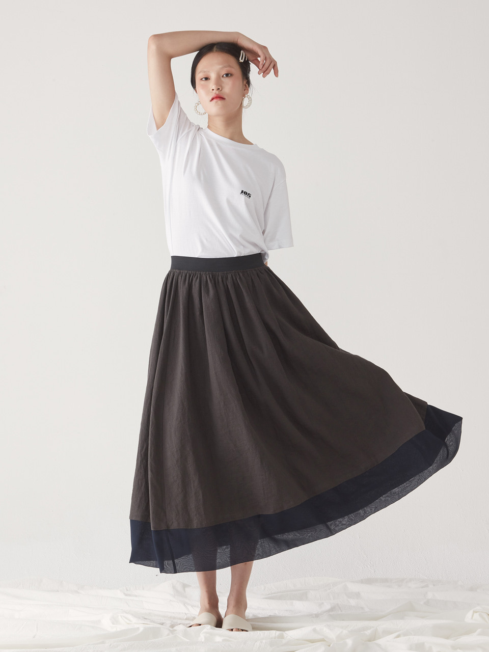 [15% SALE] SUMMER FULL SKIRT_ CHARCOAL