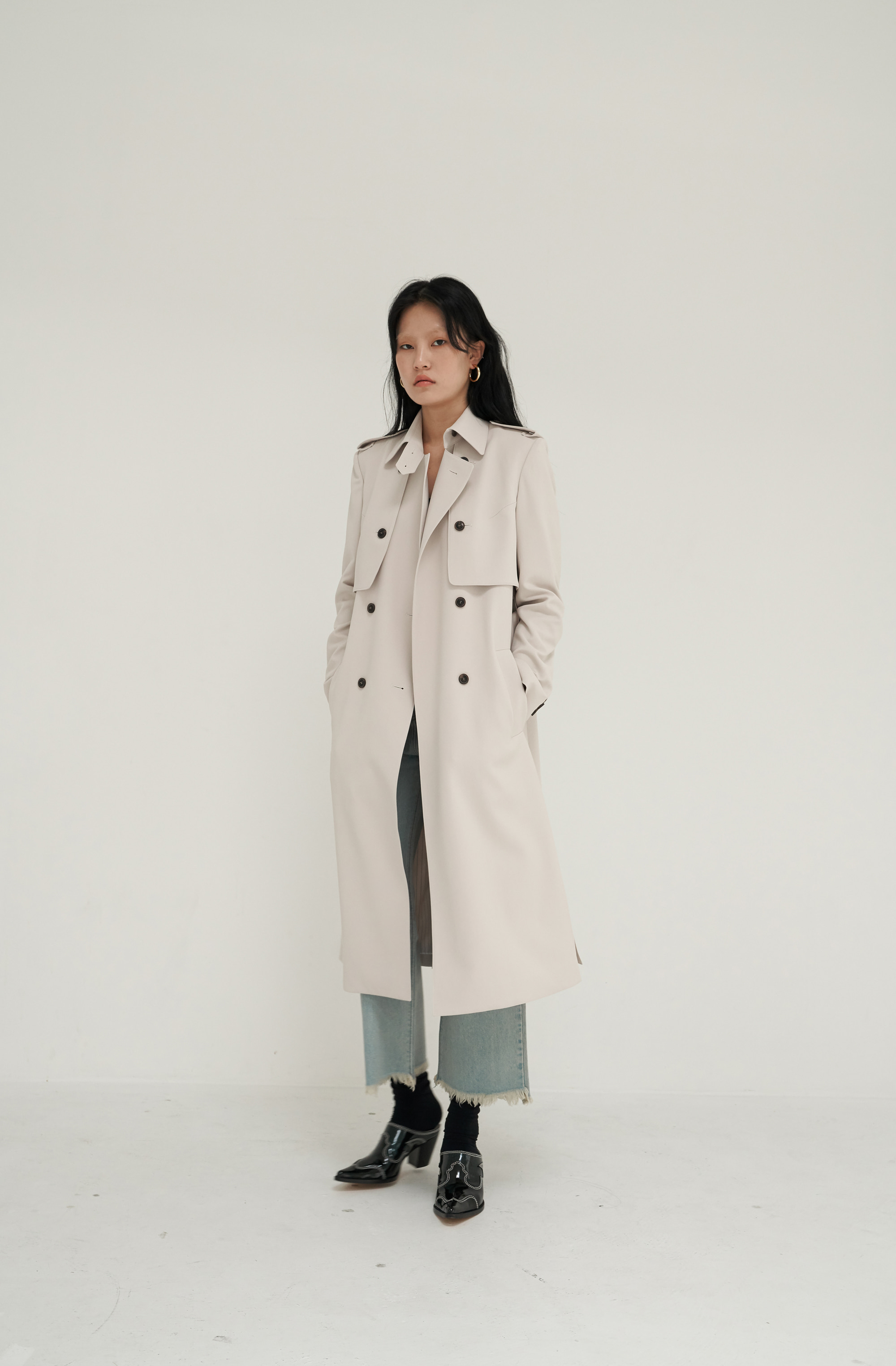 PLAIN TRENCH COAT _ IVORY BEIGE