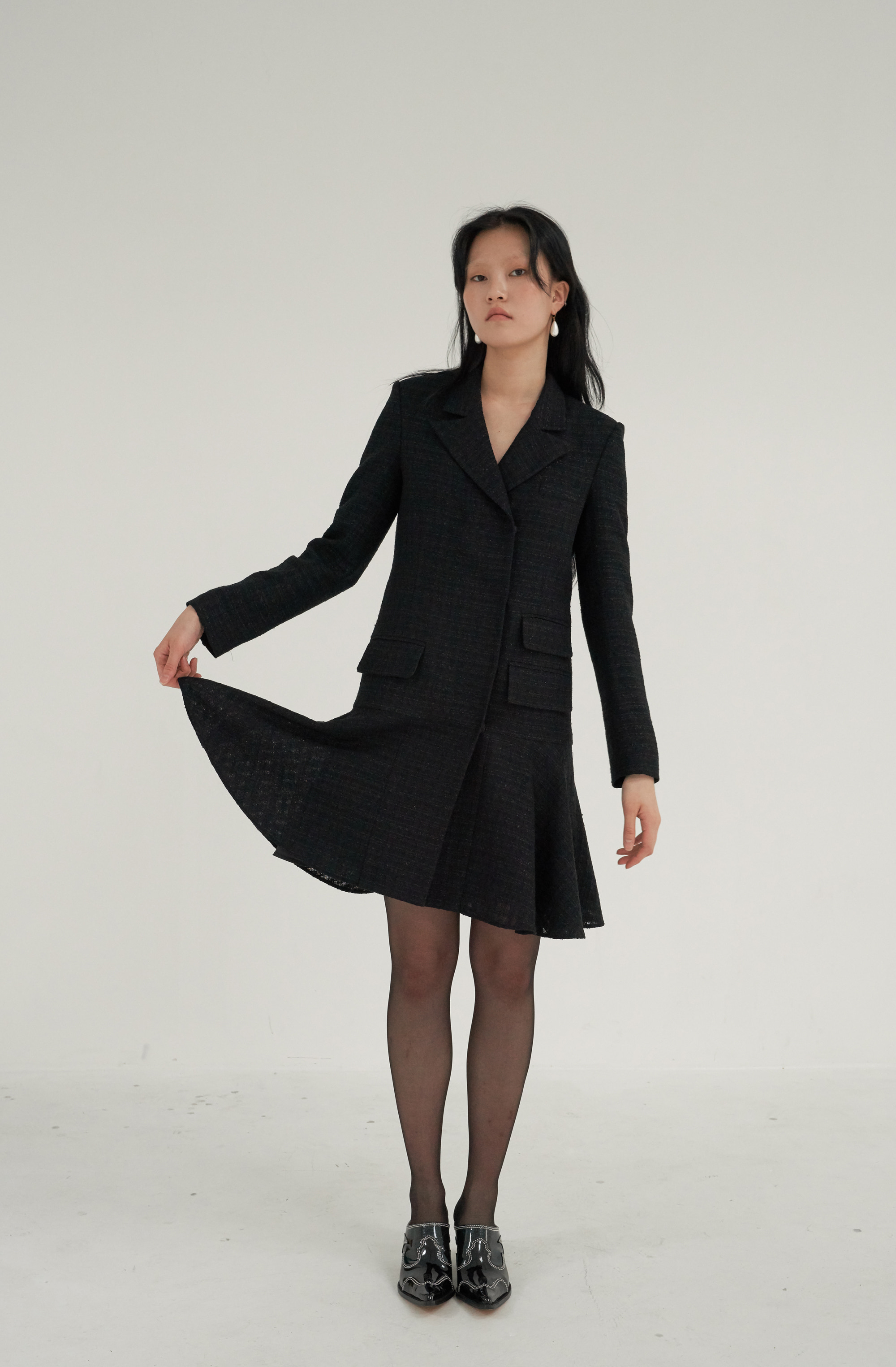 FLARE JACKET DRESS _ BLACK TWEED