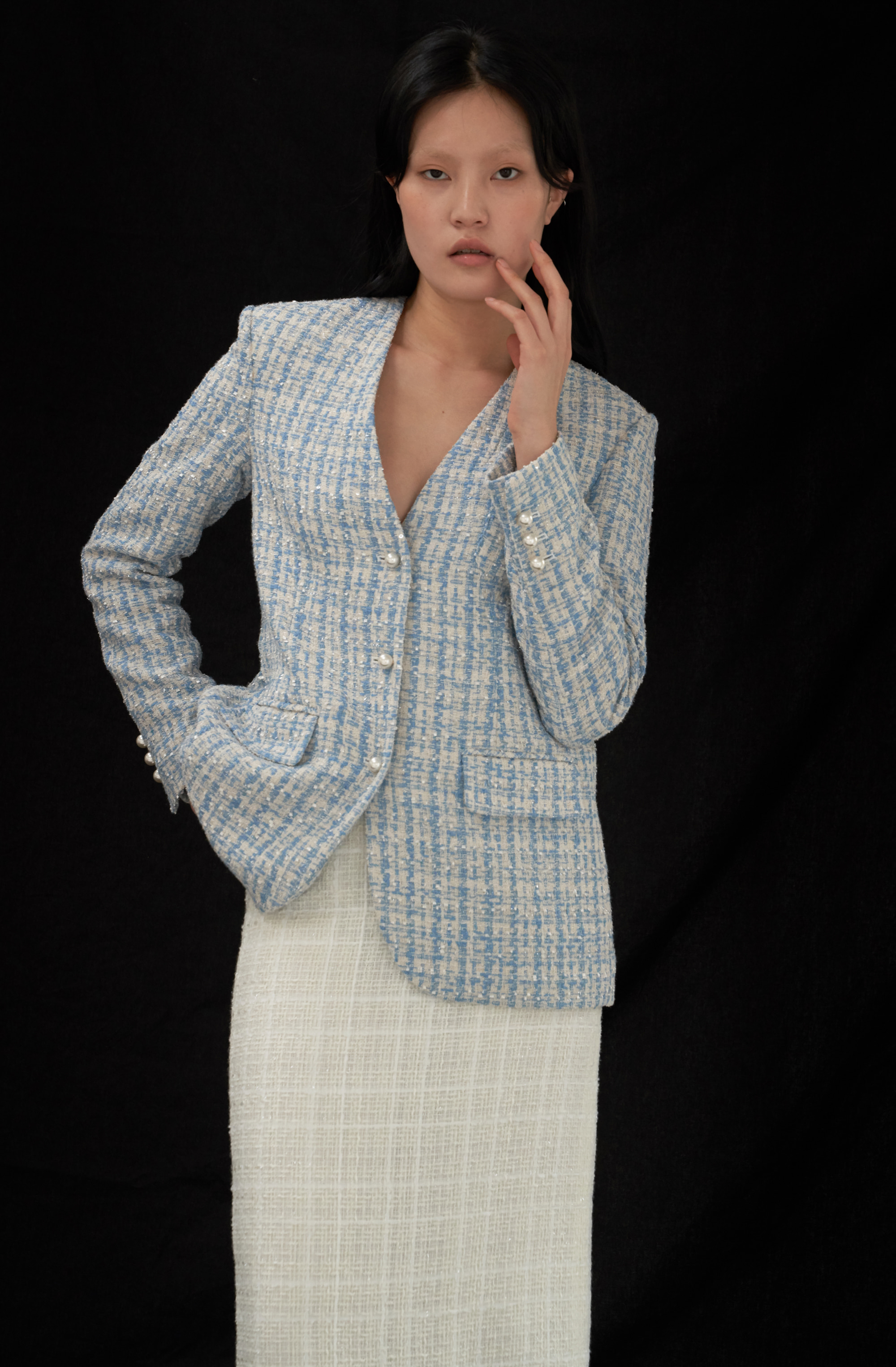 SIMPLY JACKET _ SKYBLUE TWEED