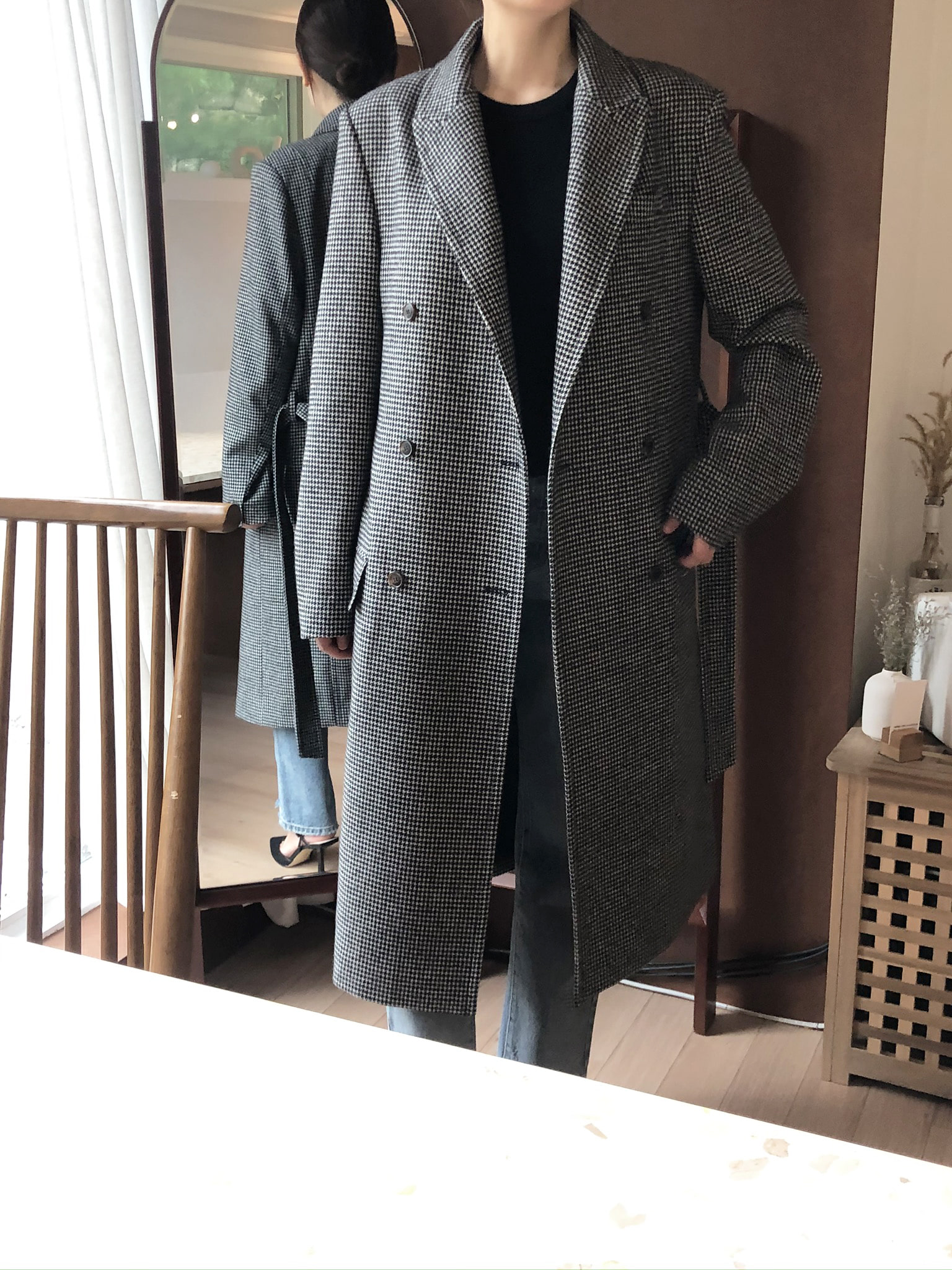 BOXY DOUBLE COAT _ houndtooth check
