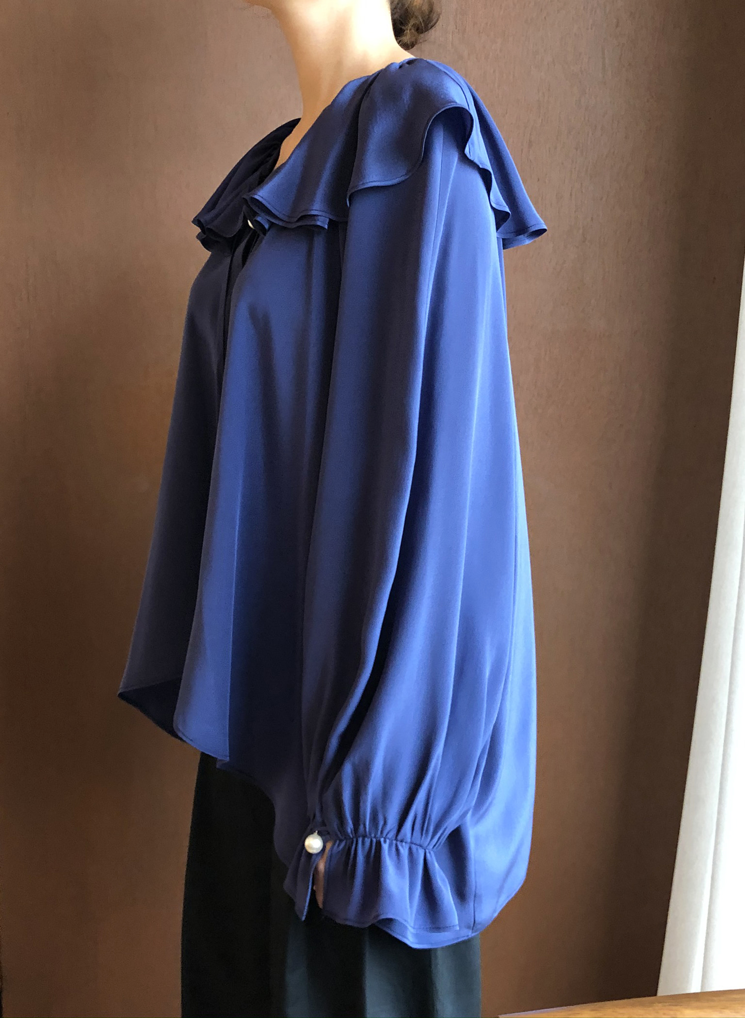 SILKY SHIRRING BLOUSE _ ultraviolet