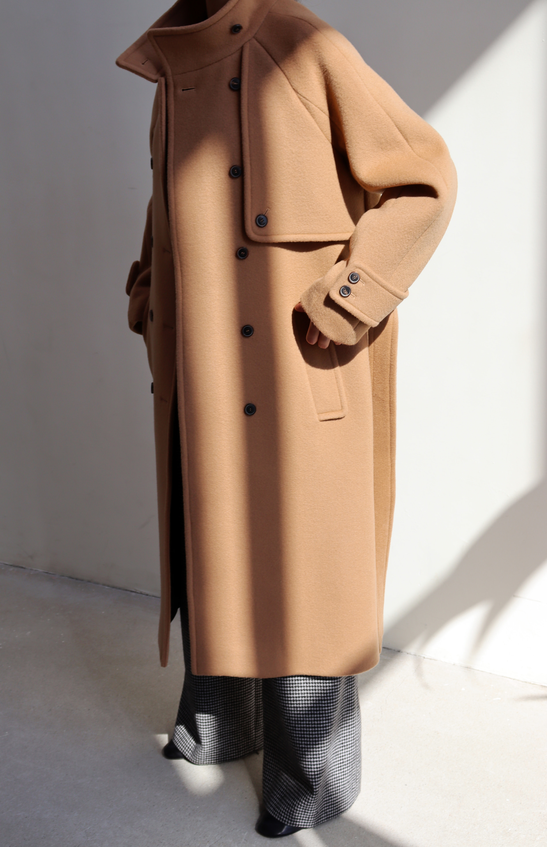 [BF EXTRA 15% OFF] HIGH NECK WOOL COAT _ CAMEL