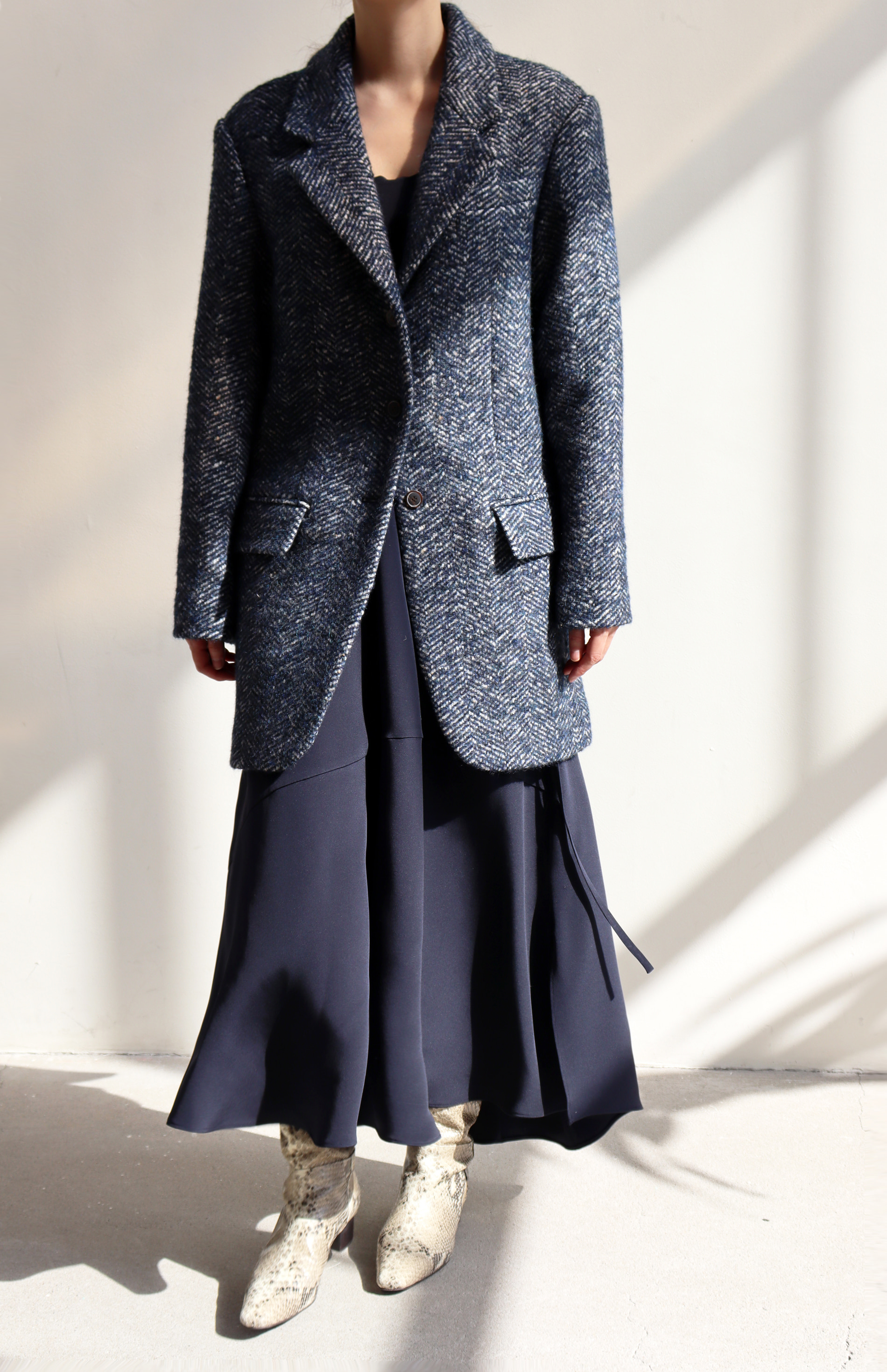 [BF EXTRA 15% OFF] DADDY COAT _ BLUE HERRINGBONE