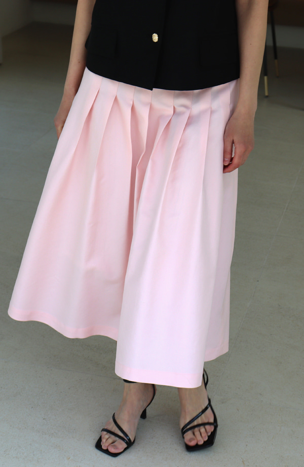 [21SS] PLEATS FLARE SKIRT_ PALE PINK